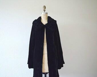 1920s silk velvet coat . vintage 20s black velvet opera coat
