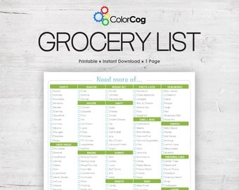 Grocery List Printable PDF Green Boxy