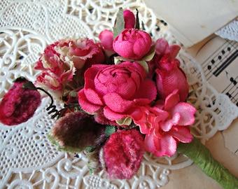Antique Vintage Velvet Millinery Flowers Posy - #33