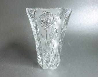 Elegant Crystal Vase with Rose Pattern and Geometric Shape - Irena Crystal from Poland - Clear and Satin Glass Flower Vase  - Gift for Her