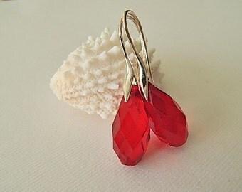 Red Earrings, Sterling Silver Dangle Earrings, Holiday Jewelry