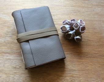 Neutral Leather-Mini Pocket Journal-Handmade-Gift Idea