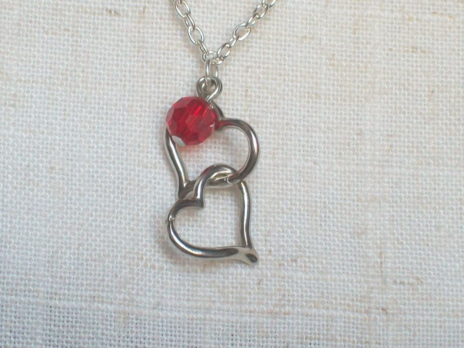 Two Hearts Necklace Silver Hearts Intertwined