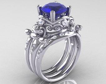 Modern Vintage 14K White Gold 3.0 Ct Blue Sapphire Diamond Trio Wedding Ring Set R167S3-14KWGDBS