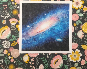 Galaxy Space Age Square Archival Watercolor Gouache Print AP011N