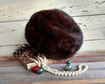 """Vintage Brown Fur Pillbox Hat From Lazarus - """"French Room"""" Hat, Fashionable Authentic Soft Fur Hat, Fancy Winter Pillbox Hat, Vintage Ohio"""