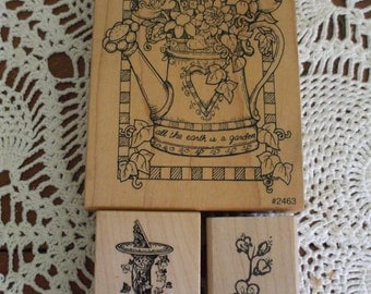 3 Wood Mounted Rubber Stamps