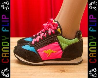 Vintage 80s Color Block Neon Pink Blue Green Yellow Black KangaROOS Running Zipper Pouch Suede Nylon Sneaker Shoe Women's US 4 / UK 3
