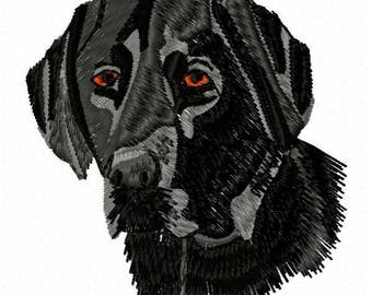 Black Lab Dog Machine Embroidery Design - Instant Download