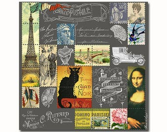 Vintage French ephemera poster - digital collage artwork print - Eiffel tower