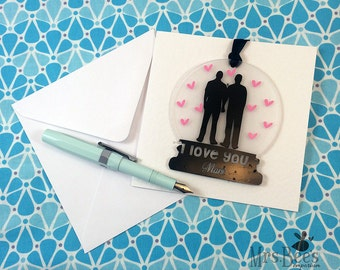 Personalized Gay Greetings Card, romantic hanging snowglobe, trans card, greetings card, personalised sign, LGBTQ love, pride, wedding