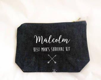 Mens wedding toiletry bag, personalized groomsmen wash bag, custom shaving kit bag, wedding thank you, groom, best man, father of bride