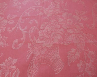 Vintage linen mattress ticking French ticking fabric, floral mattress linen toile, pink roses, sewing supply textile, French floral fabric