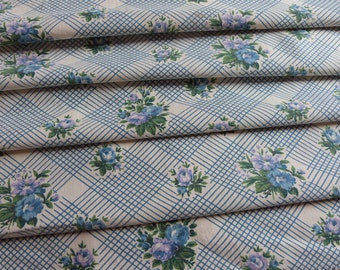 Vintage French floral fabric w blue roses fabric w floral design vintage 1950s French sewing fabric patchwork upholstery supply supplies