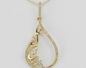 """Diamond Chandelier Pendant Necklace 14K Yellow Gold Chain 18"""" Unique Design"""