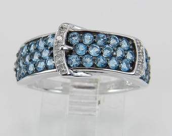 Diamond and Blue Topaz Belt Buckle Ring Statement Band White Gold Size 7.25