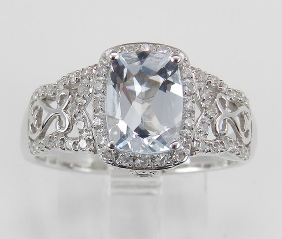 Diamond and Aquamarine Halo Engagement Ring Aqua White Gold Cushion Cut Size 7