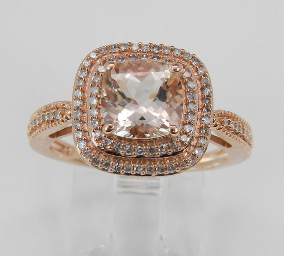 Morganite and Diamond Double Halo Engagement Ring Rose Gold Size 7 Cushion Cut