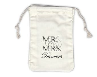 Mr and Mrs Last Name Personalized Cotton Bags for Wedding Favors in Black - Ivory Fabric Drawstring Bags - Set of 12 (1021)