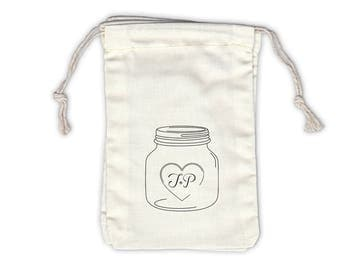 Mason Jar Initials Personalized Cotton Bags for Wedding Favors in Black - Ivory Fabric Drawstring Bags - Set of 12 (1014)