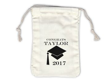 2017 Graduation Cap Personalized Cotton Favor Bags for Graduation Party - Ivory Fabric Drawstring Bags - Set of 12 (1001)