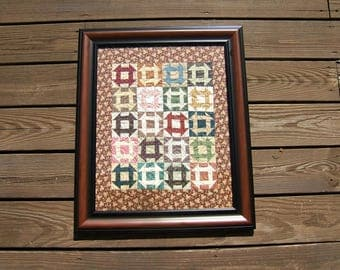 Framed Churn Dash Quilt 16 x 20
