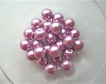 10mm Glass Beads, 25CT. Round Beads, S36 Pink, Rose, Light Purple