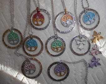 Hope Trust Love Dream Tree of Life Charm Necklace