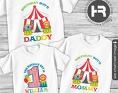 Circus Birthday Shirt Set of 3 - Carnival Birthday TShirt for Child, Daddy and Mommy - Made for ANY AGE