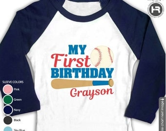Baseball Birthday Shirt or bodysuit - Navy Raglan Personalized Baseball First Birthday Shirt - Baseball 1st Birthday Shirt