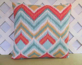zig zag pillow cover aqua blue coral yellow white aqua coral pillow accent pillow