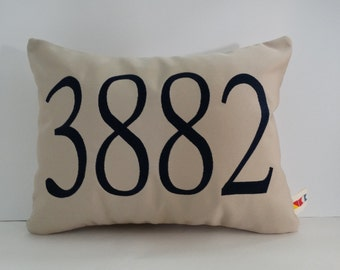 SUNBRELLA ADDRESS PILLOW cover outdoor house number zip code personalized embroidered housewarming gift wedding gift oba canvas co.