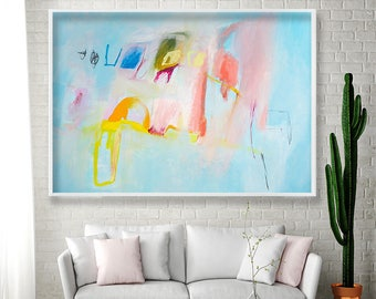 Giclee print of abstract painting Large art Expressionist pastel light blue with pink and yellow by Duealberi