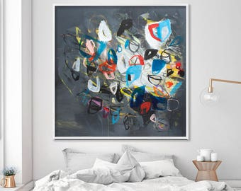 "Large Wall Art of grey abstract painting Giclee Fine Art Print up to 40x40"",modern Painting"