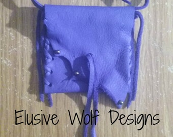 Purple Blue Leather Crystal Bag - Rainbow Hemitite Beads - Bags - Pouches - Elusive Wolf