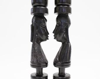 Ebony African / Masai Candlesticks, Hand Carved Tribal Bohemian Decor