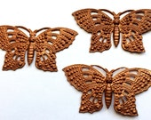 Brass Butterflies, Butterflies Pendants, Vintage Jewelry, Jewelry Making, Rusted Iron Brass, US Made, B'sue Boutiques, 29 x 59mm, Item0666