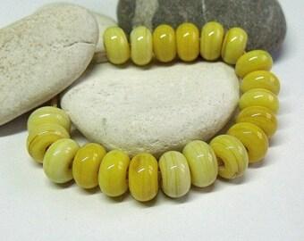 Banana Cream, Lampwork Spacer Beads, SRA, UK