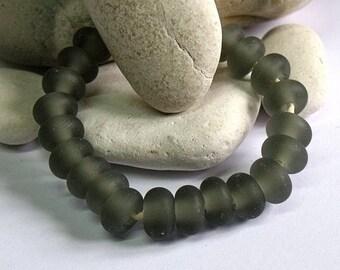 Etched Dark Grey, Lampwork Spacer Beads, SRA, UK