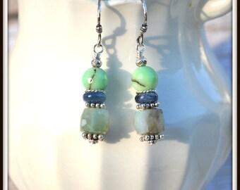 Sterling Silver Leaf Earrings, Hill Tribe Silver Leaf Earrings, Chrysoprase Earrings, Thai Silver Earrings, Green and Silver Earrings, Leaf