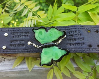 Poison Apple Green Glass Butterfly on Hand Dyed Black Leather Cuff