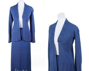WEEKEND SALE 1930s Sweater Set // Blue Rayon Knit Fan Stitch Cardigan Skirt Set