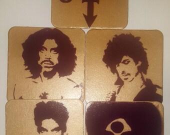 Prince Coaster Set: Logo or Thru the Years, 5PC Set