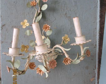 Vintage Pastel French Tole Floral Sconce Chandelier Shabby Cottage Chic Painted Metal Chippy 1 of 2