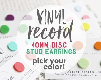 vinyl record post earrings unisex stud earrings fake gauges colorful studs funky jewelry recycled jewelry flat studs minimalist studs