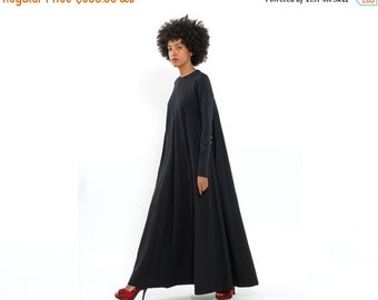 SALE 40% OFF Long Black Maxi Dress, long Sleeve Dress fo Autumn - Winter Fashion, Oversized - Loose - Trendy, Elegant and Chic