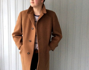 Vintage 1960s Camel colored Coat Fine Wool, Chest 40, Downing Street Tailored Overcoat Mens Carmel weave Doeskin Soft Wool Size Large