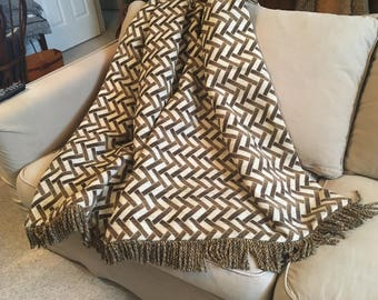 Contemporary Throw Blanket, Jungle Animal Bedding, Eclectic Boho Blankets, Modern Designer Rugs Chevron Geometric, Father's Day, Brown Throw