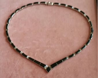 Vintage Sterling silver Black Onyx Mexican Choker Necklace