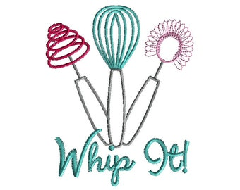Whip It (wire whisks) Machine Embroidery Design-INSTANT DOWNLOAD-4 sizes